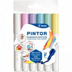 MARQUEURS PINTOR PASTEL *POCH x6* Fin - Bleu Jaune Violet Vert Rose Blanc