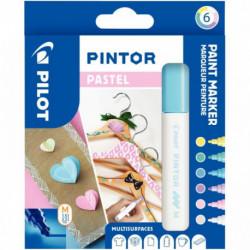 MARQUEURS PINTOR PASTEL *POCH x6* Medium - Bleu Jaune Violet Vert Rose Blanc