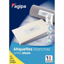 ETIQUETTE   MULTI-USAGE PLANCHE A4  38x21,2 BTE 6500 AGIPA 118990 118990