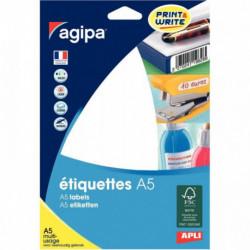 ETIQUETTE  12.8X38 BLANC  BTE 720 114044 AGIPA 114044