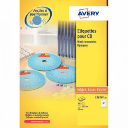 ETIQUETTE AFTERBURNER CD LASER+ AVERYL7676 BTE50 SUR FEUILLE A4 AVERY L7676-25