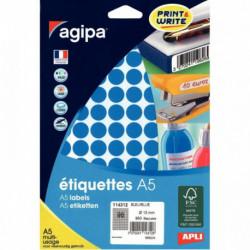 ÉTIQUETTES RONDE D 15 MM BLEU POCH. 960  AGIPA  114312 114312