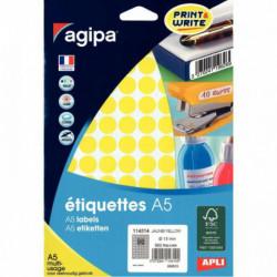 ÉTIQUETTES RONDE D 15 MM JAUNE POCH. 960  AGIPA 114314 114314