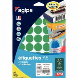 ÉTIQUETTES RONDE D 24MM VERT POCH. 400  AGIPA 114321 114321