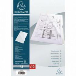POCHETTE COIN RIGIDE A3 INCOLORE  PVC 20/100E   PQT 10   EXACOMPTA 325005E