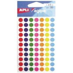POCH. 385 PASTILLES ADHESIVES 8MM ASSORT AGIPA 100624