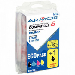LC980 - LC1100 CART OWA ARMOR Pack 4+1 NOIR GRATUITE (2X300) PAGES + (3X260) PAG