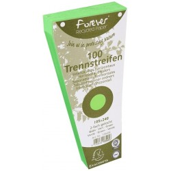 INTERCALAIRES 2 TROUS CARTE RECYCLE 180G TRAPEZE 10,5X24  VERT  PQT100 RAINE
