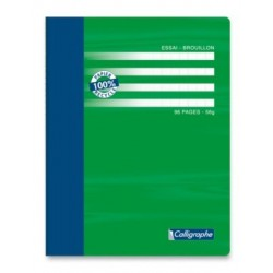 CAHIER BROUILLON PIQURE 17x22 56G 96 PAGES SEYES RECYCLE