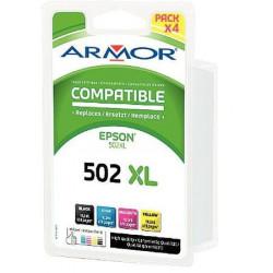 T02W640 LOT 4 CARTOUCHES P/ EPSON NOIR+COUL HC COMPATIBLE ARMOR