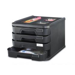 MODULE 4 TIROIRS A4+ BIG BOX NOIR GLOSS