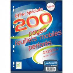 PAQUET DE 100 FEUILLETS MOBILES PERFORÉS, FORMAT A4, PAPIER 90G, SÉYÈS