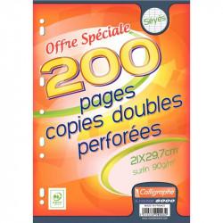 PAQUET DE 50 COPIES DOUBLES PERFORÉES, FORMAT A4, PAPIER 90G, SÉYÈS