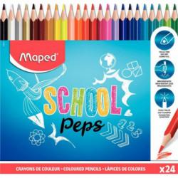 CRAYONS DE COULEUR SCHOOL'PEPS POCHETTE DE 24