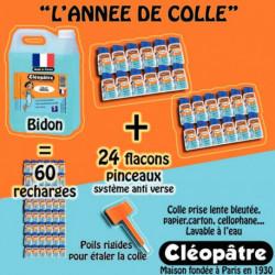 COLLE MARINE SCHOOLPACK 24 FLACONS 80G AVEC PINCEAUX + 1 BIDON 5KG DÈS 3 ANS