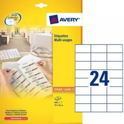 ETIQUETTES MULTI-USAGES 70x37 BTE 100 FLES AVERY 3474 AVERY 3474-100