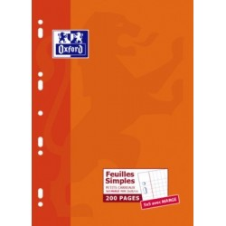 FEUILLET MOBILE BLC PERF. UNIVERS. 21x29,7 90G 200 PAGES 5x5