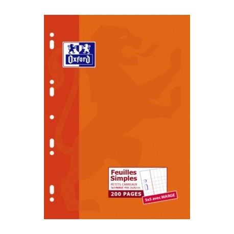 FEUILLET MOBILE PERF 210x297 200P 90G 5x5 OXFORD