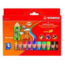 BTE 10 CRAYON WOODY ASS. + 1 taille crayon