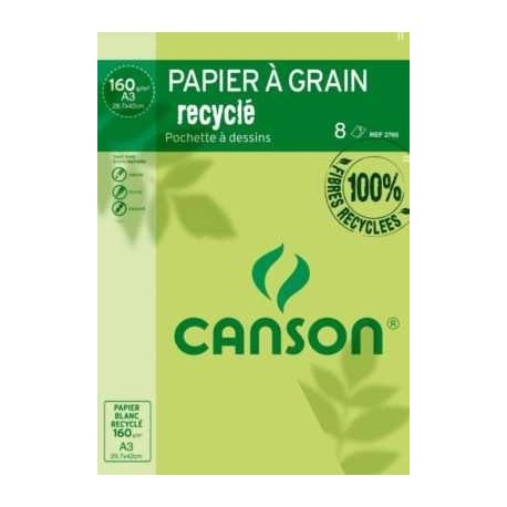 POCH.  8 FLE  RECYCLE CANSON 29,7x42 160G DESSIN