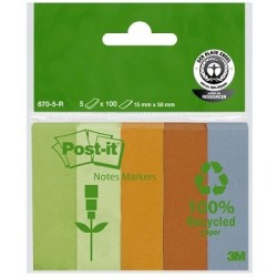 MARQUEPAGES POSTIT 5x100 FEUILLES RECYCLES