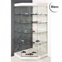 VITRINE DANGLE YED SOCLE BLANC PLAFOND VERRE PORTES COULISSANTES 180 x 82 x 82 cm