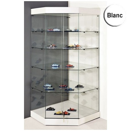 vitrine d angle yed socle blanc plafond verre portes coulissantes 180 x 82 x 82 cm setico. Black Bedroom Furniture Sets. Home Design Ideas