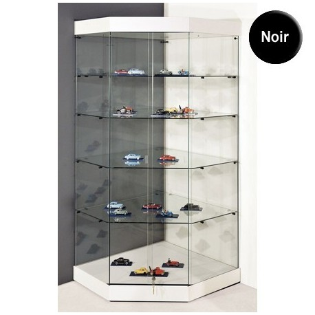 vitrine d angle yed socle noir plafond verre portes coulissantes 180 x 82 x 82 cm setico. Black Bedroom Furniture Sets. Home Design Ideas