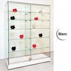 VITRINE DOUBLE GEMMA A ROULETTES SOCLE BLANC PORTES COULISSANTES 180 x 120 x 47 cm