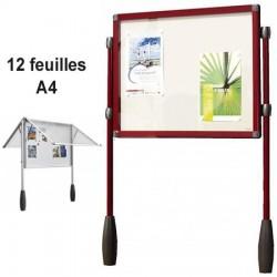 VITRINE ROUGE ANTARES DOUBLE PIETEMENT 101 X 95 CM SOIT 12 FEUILLES A4