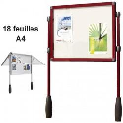 VITRINE ROUGE ANTARES DOUBLE PIETEMENT 101 X 137 CM SOIT 18 FEUILLES A4