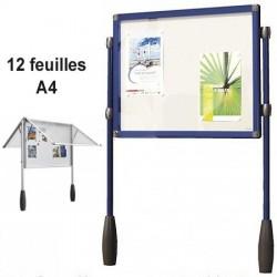 VITRINE BLEU ANTARES DOUBLE PIETEMENT 101 X 95 CM SOIT 12 FEUILLES A4