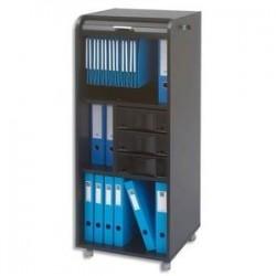 SIMMOB Meuble de rangement noir avec 2 tabletttes 3 tiroirs et un support DS 47 x 117 x 39 cm