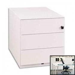 GAUTIER Caisson mobile métal laqué blanc, 3 tiroirs 1 plumier 4 roulettes SUNDAY 45x50x57cm