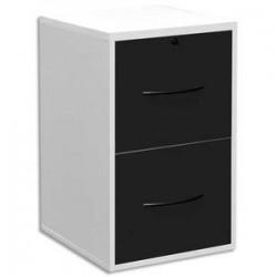 MT DISCOUNT Classeur mélaminé 2 tiroirs pour dossier suspendu blanc, façade tiroir noir 42 x 69 x 44 cm