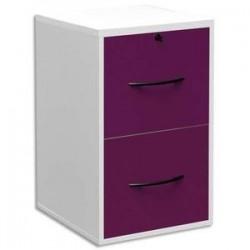 MT DISCOUNT Classeur mélaminé 2 tiroirs pour dossier suspendu blanc, façade tiroir prune 42 x 69 x 44 cm