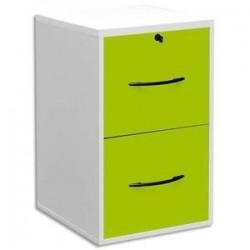 MT DISCOUNT Classeur mélaminé 2 tiroirs pour dossier suspendu blanc, façade tiroir vert 42 x 69 x 44 cm