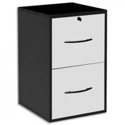 MT DISCOUNT Classeur mélaminé 2 tiroirs pour dossier suspendu noir, façade tiroir blanc 42 x 69 x 44 cm