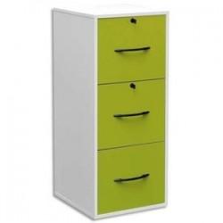 MT DISCOUNT Classeur mélaminé 3 tiroirs pour dossier suspendu blanc, façade tiroir vert 42 x 101 x 44 cm