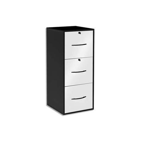 mt discount classeur m lamin 3 tiroirs pour dossier suspendu noir fa ade tiroir blanc 42 x 101. Black Bedroom Furniture Sets. Home Design Ideas