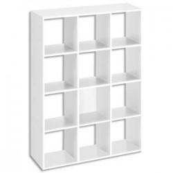 MTI Bibliothèque multicases 12 cases MT1 élégance coloris blanc Dimensions : L 142,5 x H107 x P33 cm