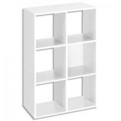 MTI Bibliothèque multicases 6 cases MT1 élégance coloris blanc Dimensions : L73 x H107 x P33 cm