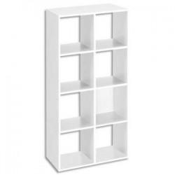 MTI Bibliothèque multicases 8 cases MT1 élégance coloris blanc Dimensions : L73 x H142,5 x P33 cm