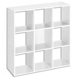 MTI Bibliothèque multicases 9 cases MT1 élégance coloris blanc Dimensions : L107 x H107 x P33 cm