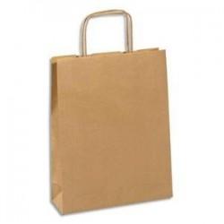 EMBALLAGE Paquet de 100 sacs kraft brun à poignée 25 x 32 x 9 cm