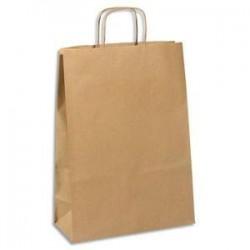 EMBALLAGE Paquet de 100 sacs kraft brun 110g à poignée torsadées Format L30 x 42 x 13 cm