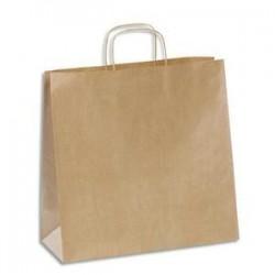 EMBALLAGE Paquet de 100 sacs kraft brun 110g à poignée torsadées Format L35 x 35 x 16 cm