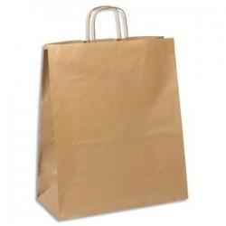 EMBALLAGE Paquet de 100 sacs kraft brun 110g à poignée torsadées Format L40 x 47 x 19 cm