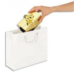 EMBALLAGE Paquet de 25 sacs pelliculés blanc avec poignées cordelières assorties 40 x 32 x 12 cm