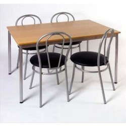 SODEMATUB Table collectivité hêtre alu cafétéria rectangle 120x80cm